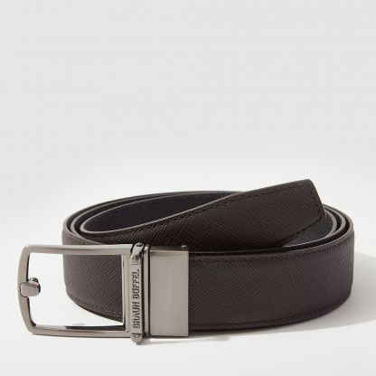 REVERSIBLE FINE GRAIN LEATHER BELT WITH ALLOY PLATE BUCKLE
